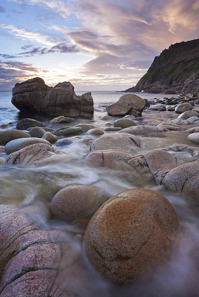 Rocky shores of Porth Nanven at sunset, Cornwall, England, United Kingdom, Europe