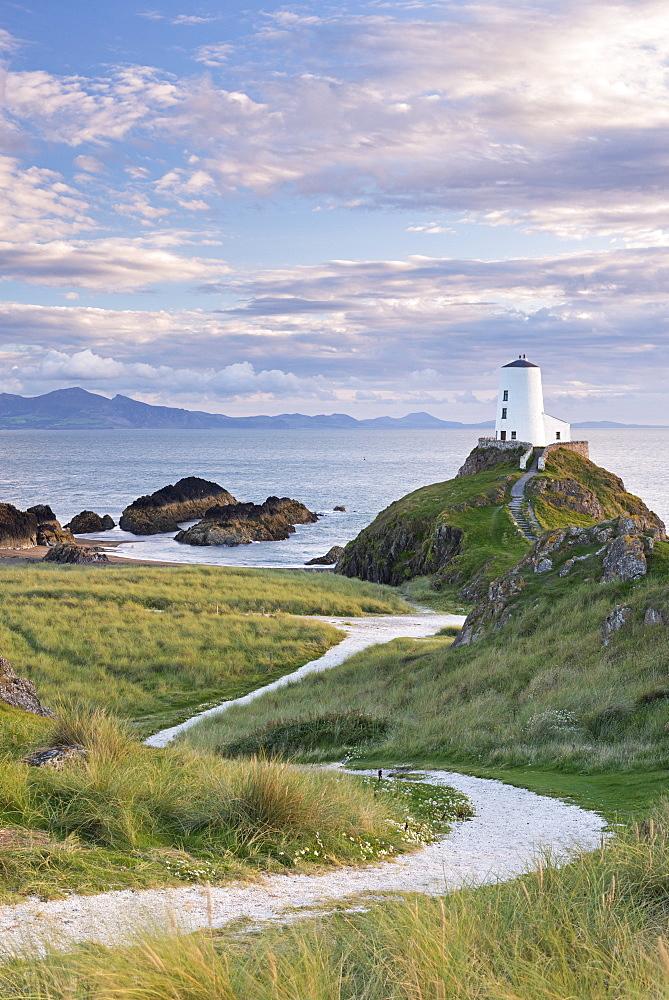 Path leading to Twr Mawr Lighthouse on Llanddwyn Island, Anglesey, Wales, United Kingdom, Europe