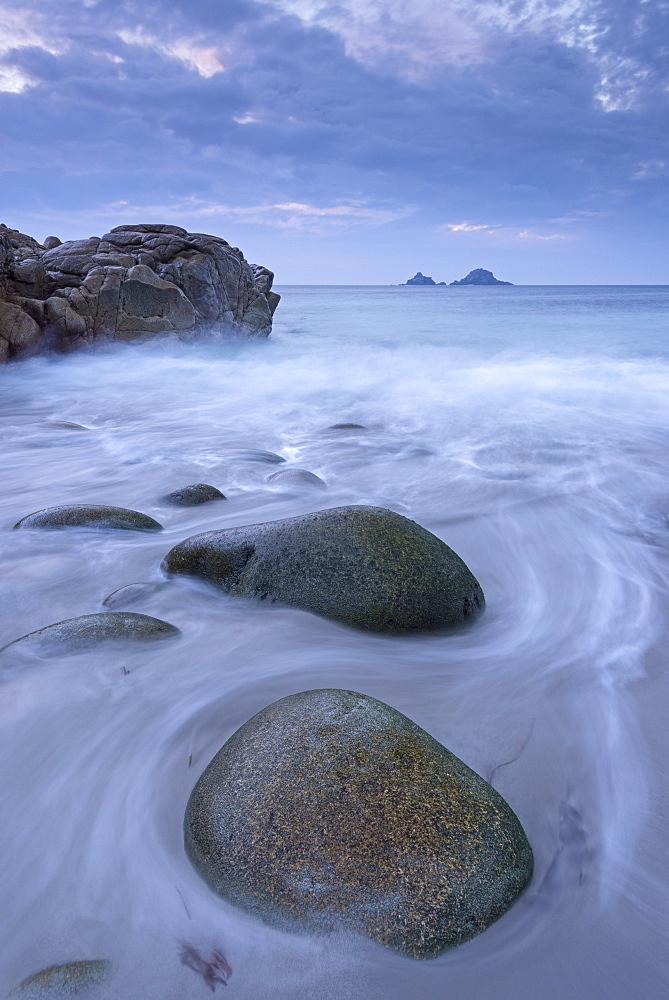 Porth Nanven beach at twilight, St. Just, Cornwall, England, United Kingdom, Europe