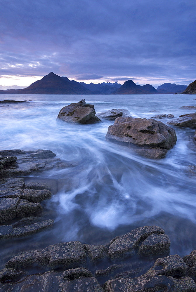 The Black Cuillin mountains from the rocky shores of Elgol, Isle of Skye, Inner Hebrides, Scotland, United Kingdom, Europe