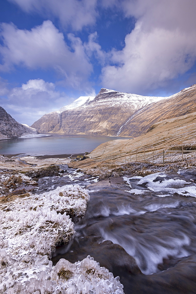 Snow and ice covered scenery at Saksun on the island of Streymoy, Faroe Islands, Denmark, Europe