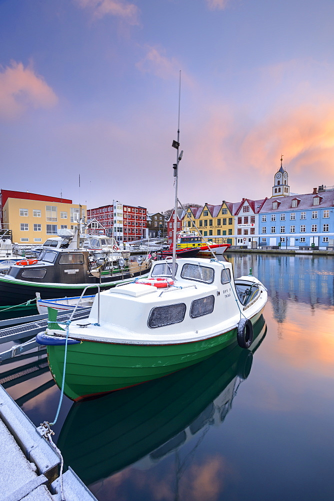 Colourful boats and buildings in Torshavn harbour, Streymoy, Faroe Islands, Denmark, Europe