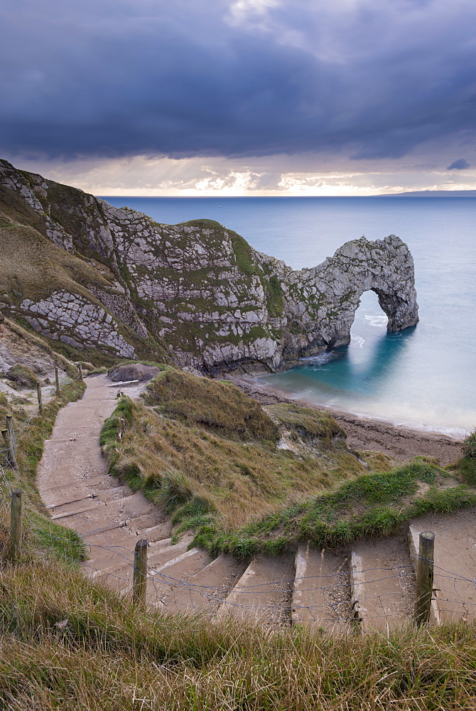 Steps leading down to Durdle Door on the Jurassic Coast, UNESCO World Heritage Site, Dorset, England, United Kingdom, Europe