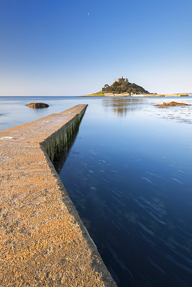 Slipway leading to St. Michael's Mount off the coast of Marazion, Cornwall, England, United Kingdom, Europe