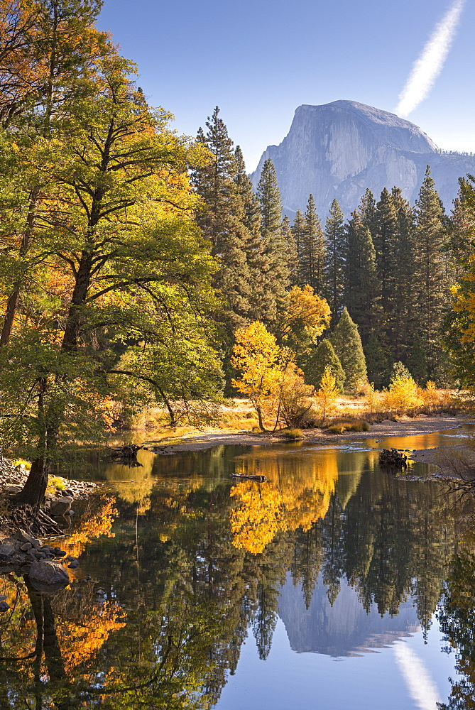 Half Dome and the Merced River surrounded by fall foliage, Yosemite National Park, UNESCO World Heritage Site, California, United States of America, North America