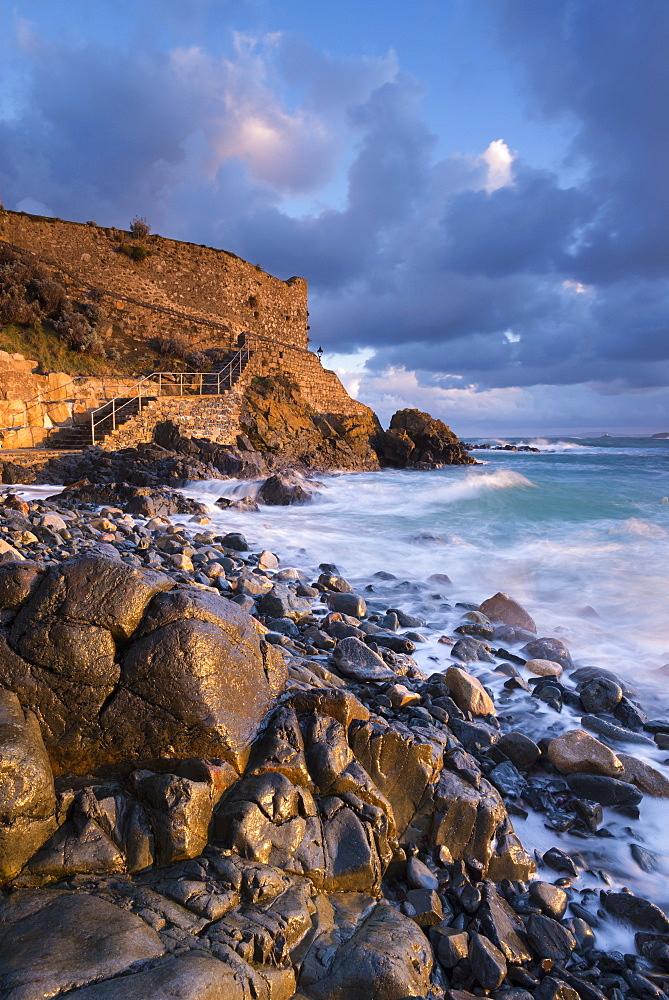 Early morning sunshine at Bamaz Point, St. Ives, Cornwall, England. United Kingdom, Europe