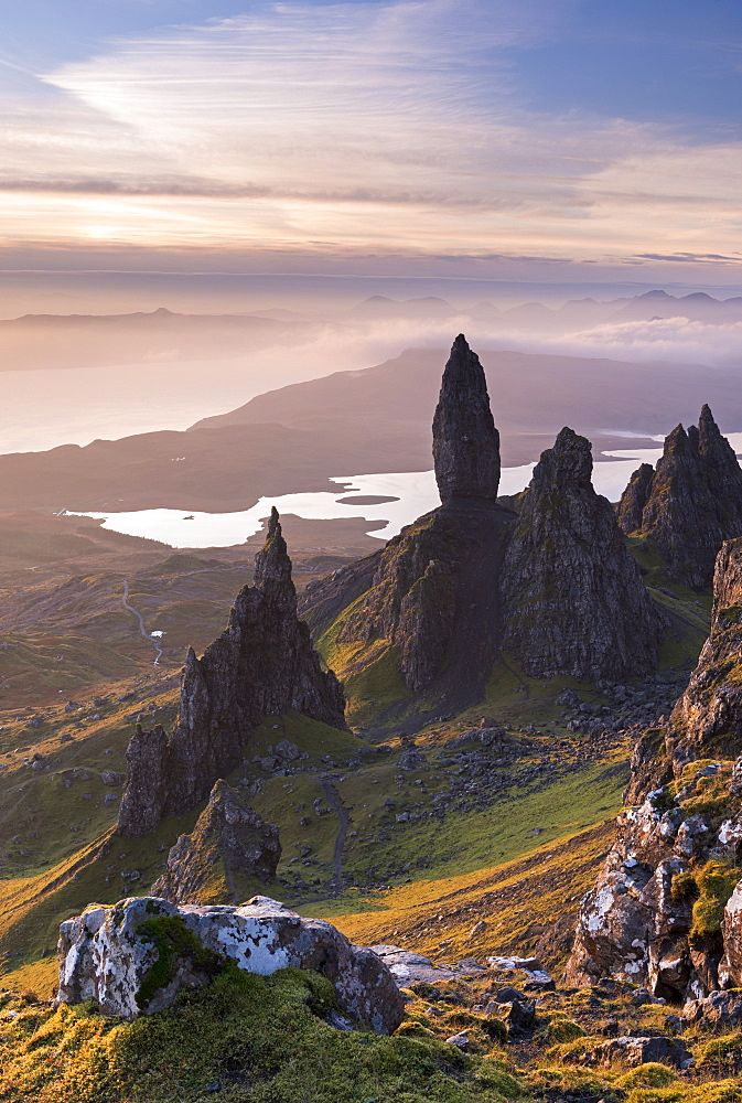 Sunrise over the Old Man of Storr on the Isle of Skye, Inner Hebrides, Scotland, United Kingdom, Europe
