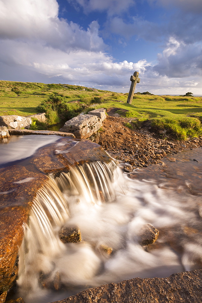 Beckamoor Cross, also known as the Windy Post beside the Grimstone and Sortridge Leat, Dartmoor National Park, Devon, England, United Kingdom, Europe