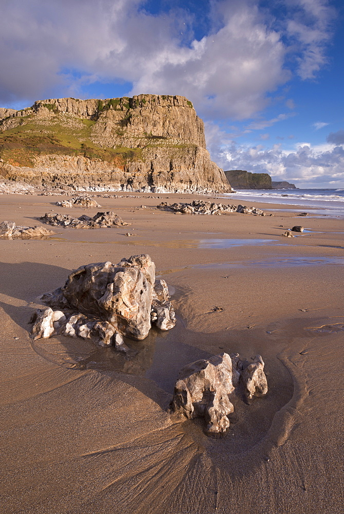 Dramatic cliffs and sandy beaches at Fall Bay on the Gower Peninsula, Wales, United Kingdom, Europe