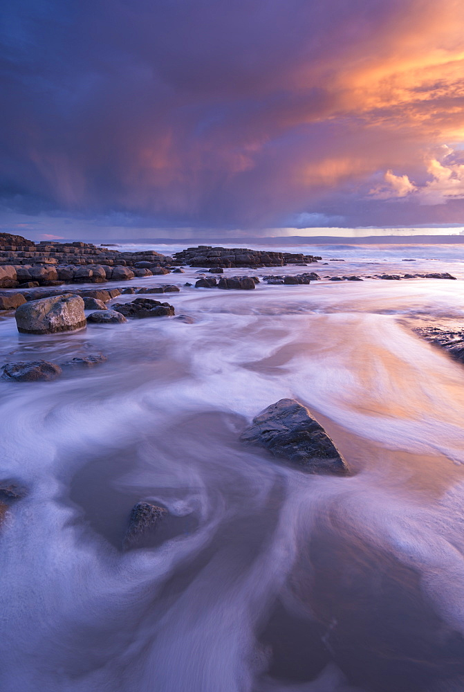 Sunset over the Bristol Channel from Nash Point on the Glamorgan Coast, Wales, United Kingdom, Europe