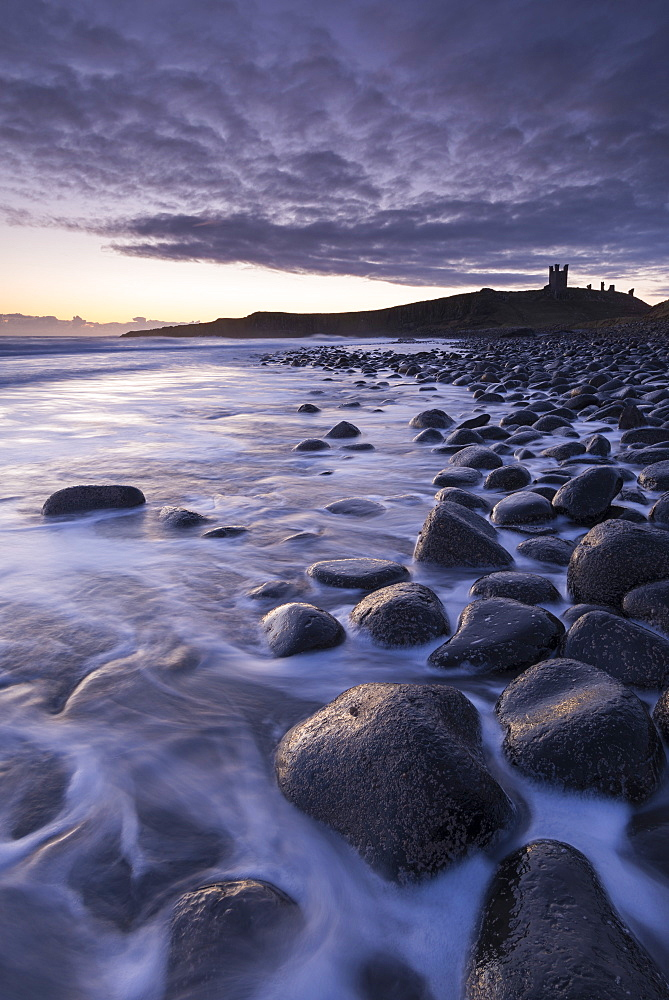 Winter sunrise at Embleton Bay boulder beach with Dunstanburgh Castle beyond, Northumberland, England, United Kingdom, Europe