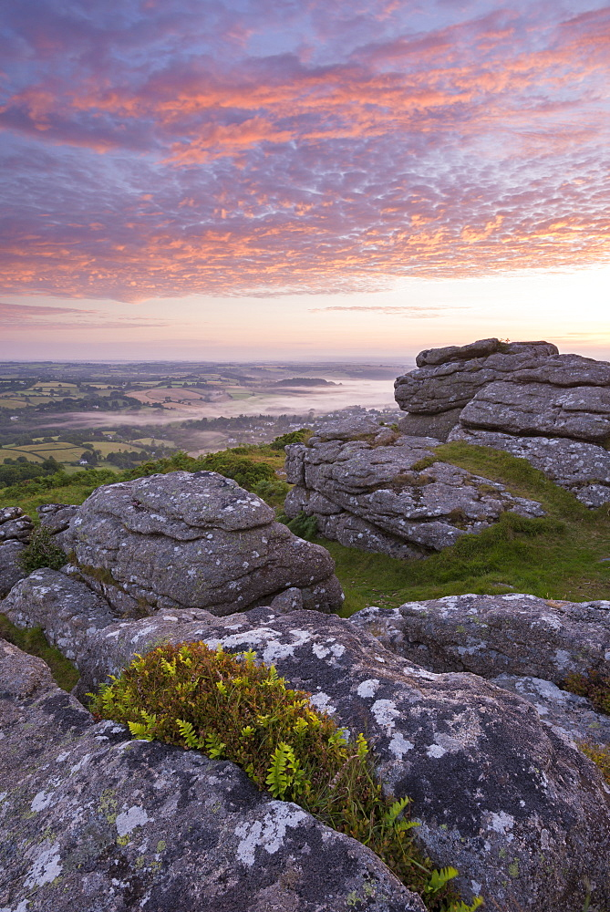 Beautiful sunrise over Dartmoor, photographed from Meldon Hill, Devon, England, United Kingdom, Europe