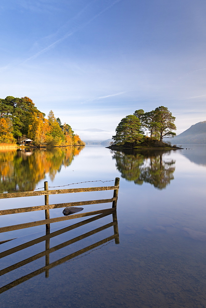 Mirror still tranquil morning on Derwent Water in the Lake District, Cumbria, England, United Kingdom, Europe - 799-3471
