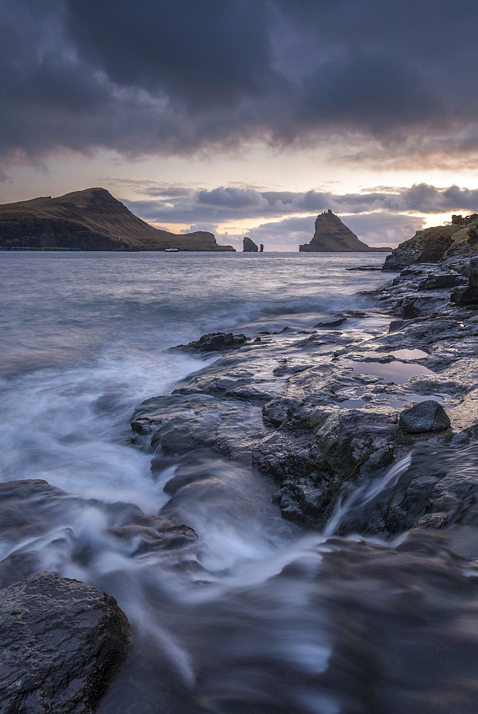 Dramatic scenery views on the coast at Bour on the island of Vagar, Faroe Islands, Denmark, Europe - 799-3522