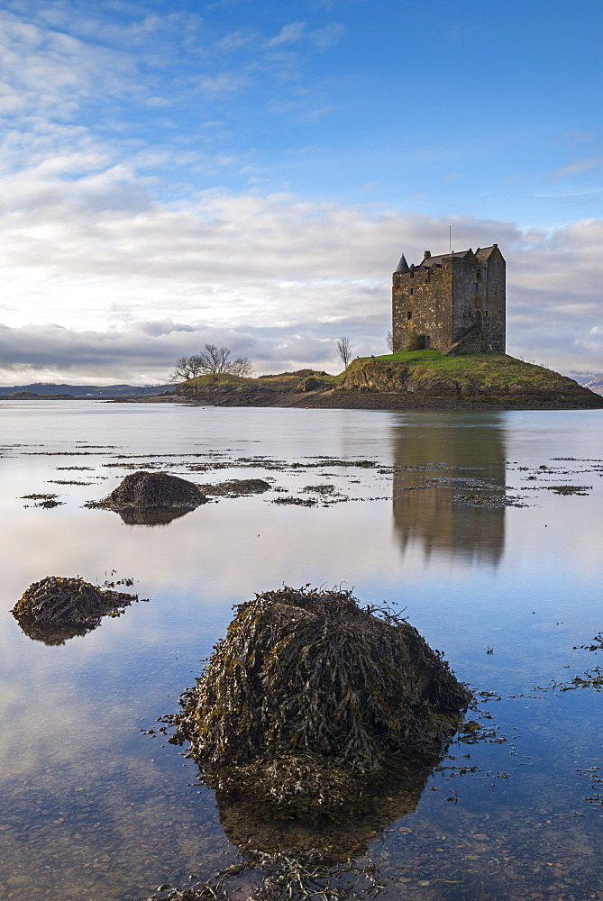 Castle Stalker reflected in Loch Linnhe, Appin, Argyll, Scotland, United Kingdom, Europe