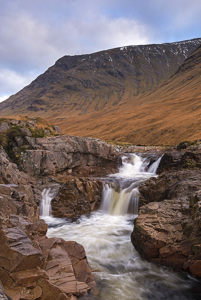 River Etive rushing though rocks in winter, Glen Etive, Highlands, Scotland, United Kingdom, Europe - 799-3539