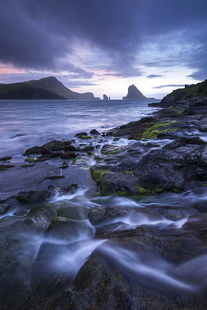 Tindholmur at sunset from Bour on the island of Vagar, Faroe Islands, Denmark, Europe