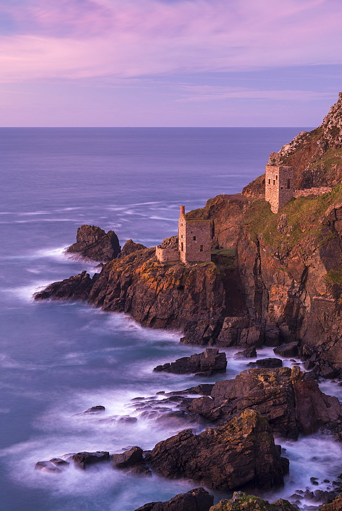Botallack tin mines, UNESCO World Heritage Site, used in the filming of Poldark, on the cliffs near St. Just, Cornwall, England, United Kingdom, Europe