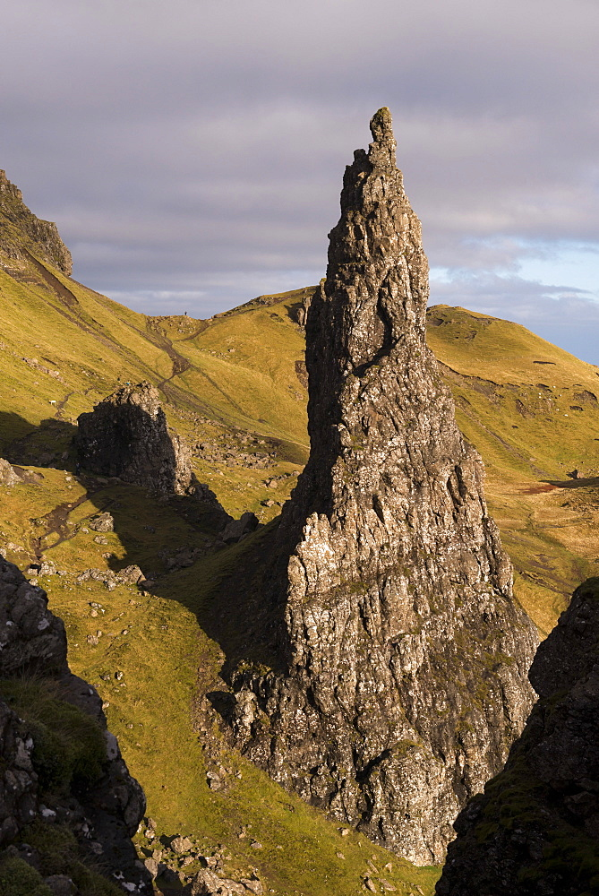 Needle Rock, one of the basalt columns standing alongside the Old Man of Storr, Isle of Skye, Inner Hebrides, Scotland, United Kingdom, Europe