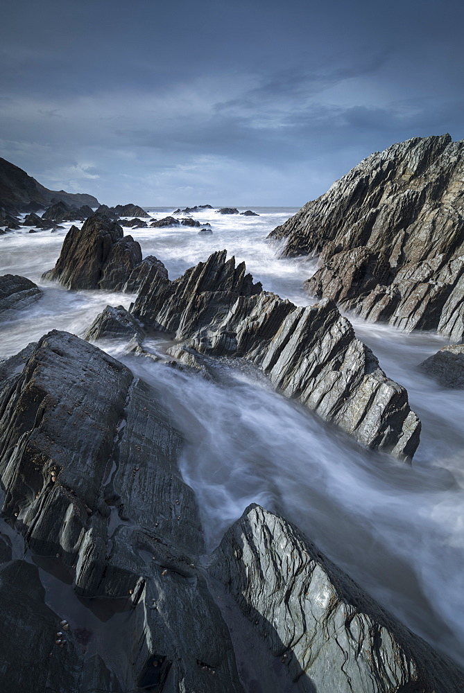 Dramatic rock formations on the North Devon coast near Lee Bay in winter, Devon, England, United Kingdom, Europe - 799-3692