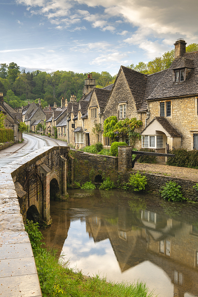 Picture postcard Cotswolds village of Castle Combe, Wiltshire, England. Spring (May) 2019. - 799-3807