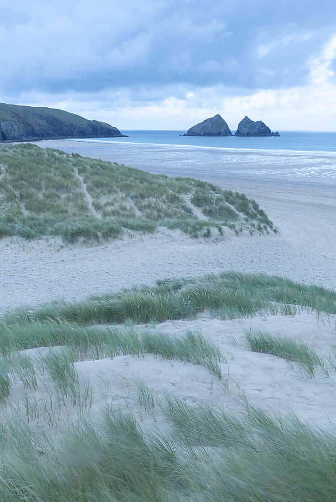 Holywell Bay from the sand dunes, Cornwall, England. Summer (June) 2019.