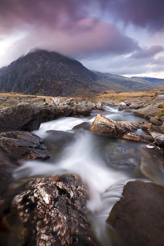 Rocky river in Cwm Idwal leading to Pen yr Ole Wen Mountain at sunset, Snowdonia National Park, Conwy, North Wales, Wales, United Kingdom, Europe - 799-786