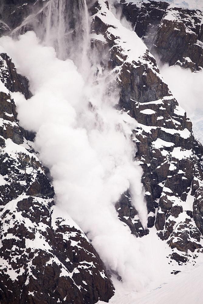 Avalanche on a mountainside above Paradise Bay, Antarctic Peninsula, Antarctica, Polar Regions