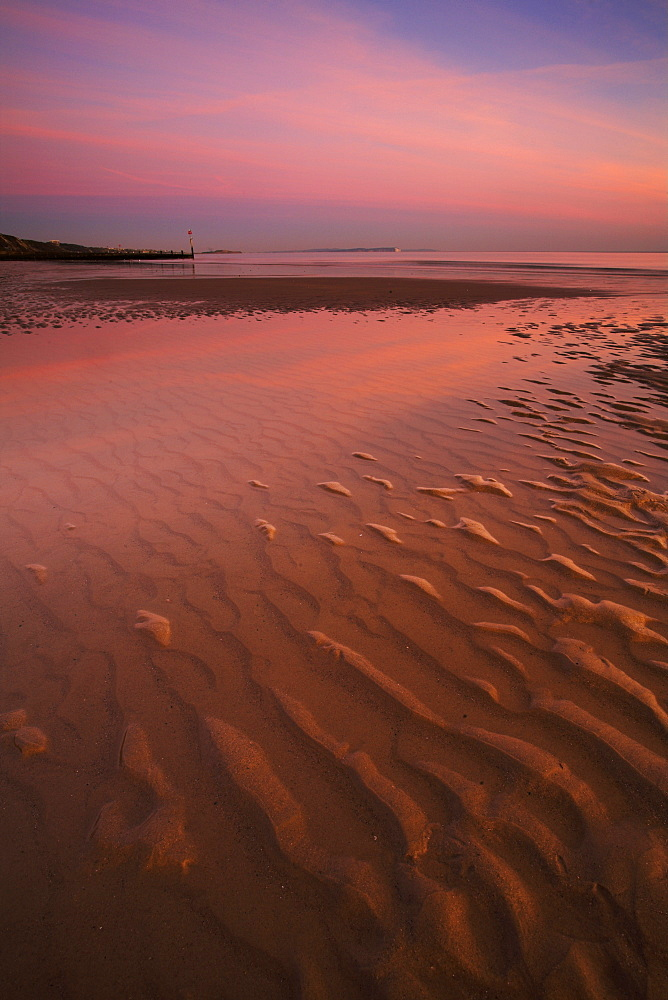 Shallow pools of water on the beach at Bournemouth, Dorset, England, United Kingdom, Europe