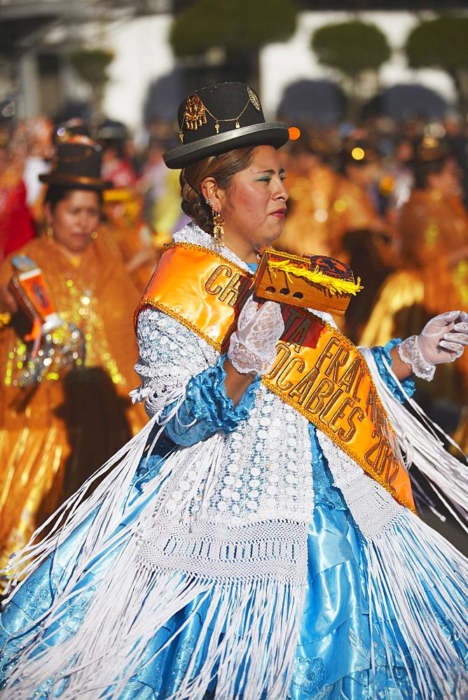 Women dancing in festival in Plaza 25 de Mayo, Sucre, UNESCO World Heritage Site, Bolivia, South America