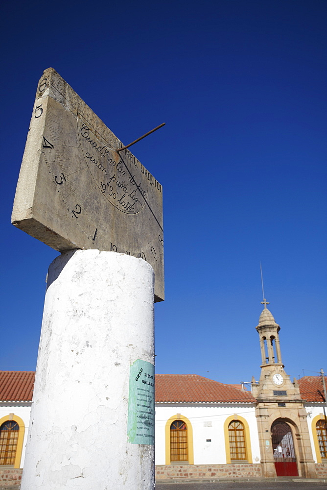 Sundial in Plaza Anzures, Sucre, UNESCO World Heritage Site, Bolivia, South America