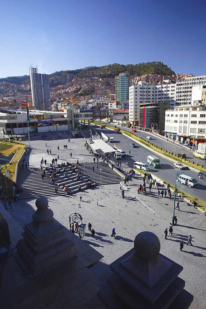 View of Plaza San Francisco from rooftop of San Francisco Church, La Paz, Bolivia, South America