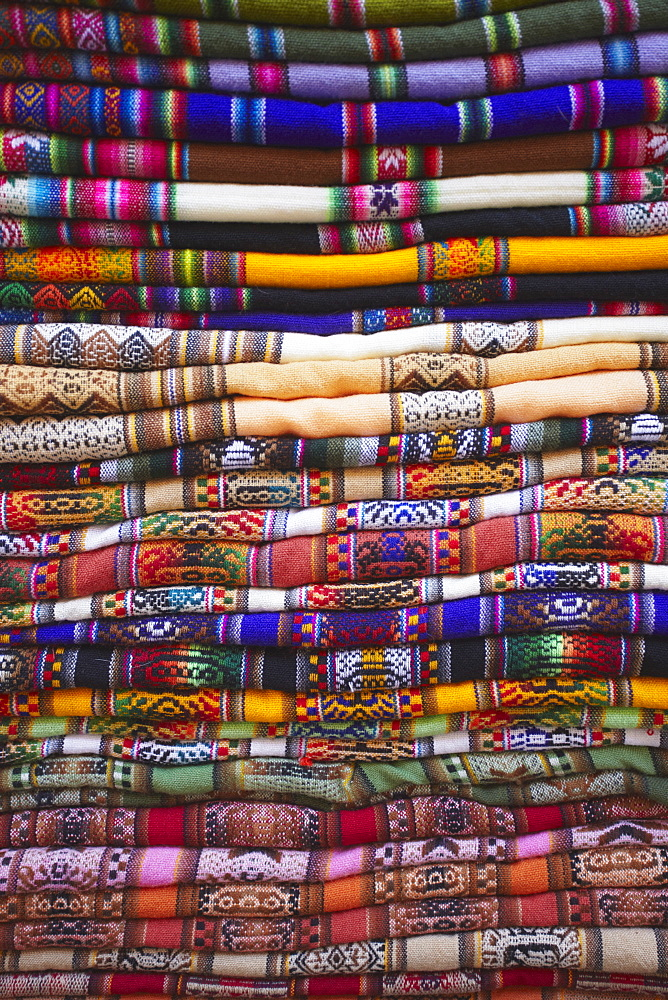 Colourful blankets in Witches' Market, La Paz, Bolivia, South America