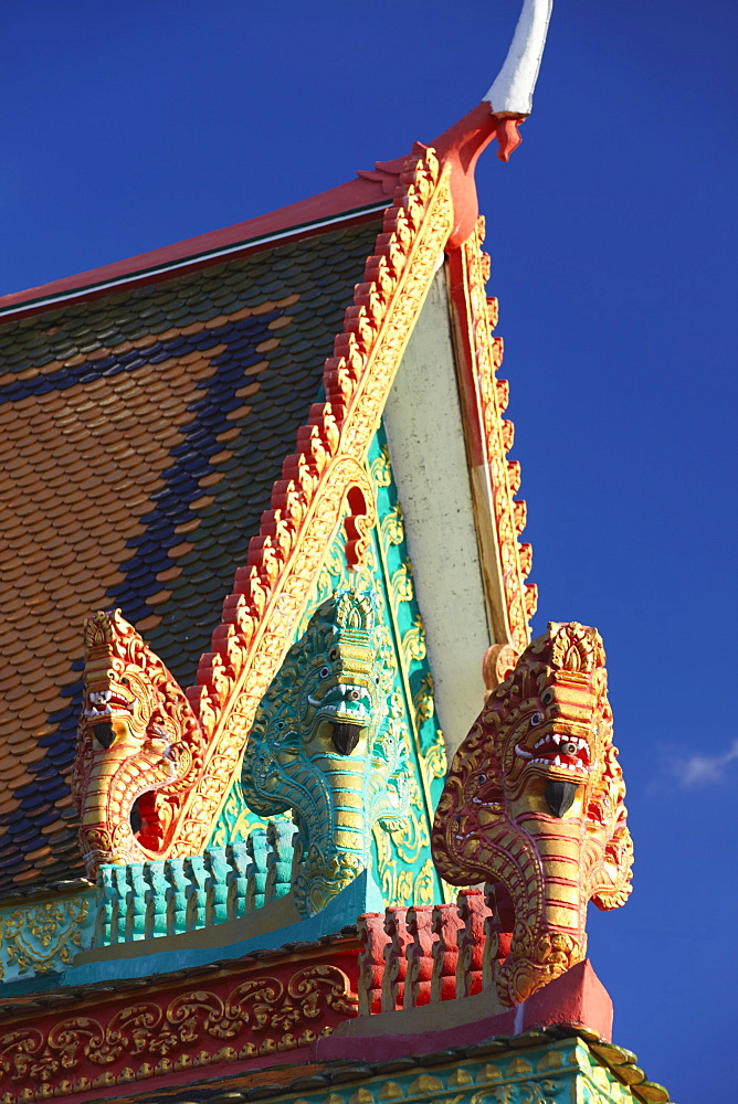 Details of roof of Wat Han Chey, Kampong Cham, Cambodia, Indochina, Southeast Asia, Asia