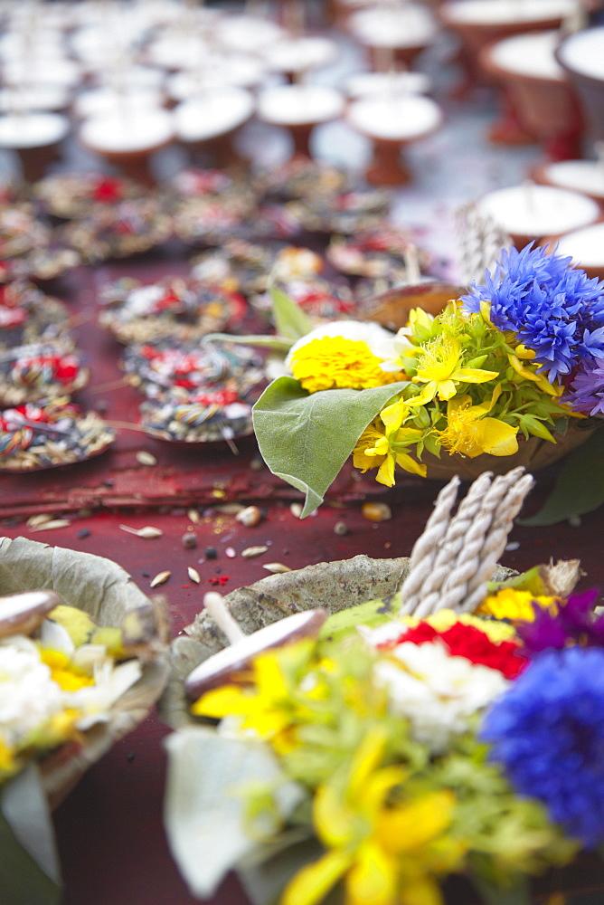 Flower offerings at Durbar Square, Kathmandu, Nepal, Asia