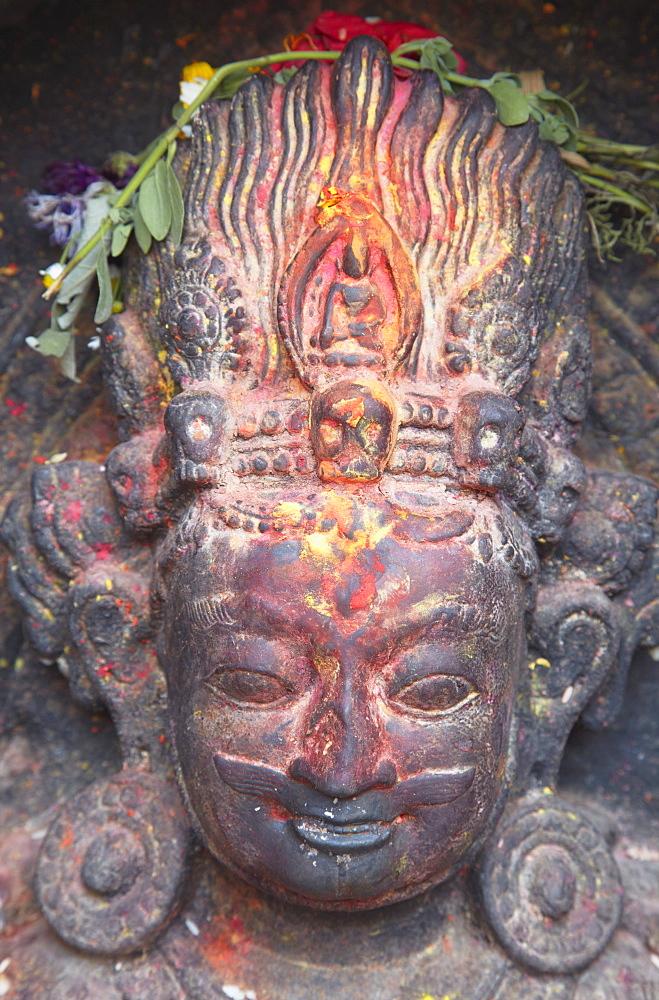Statue at Swayambhunath Stupa, UNESCO World Heritage Site, Kathmandu, Nepal, Asia