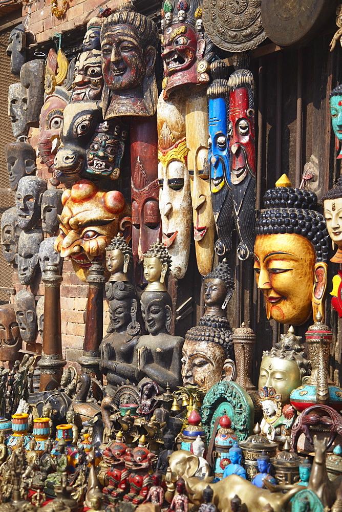 Souvenir masks, Bhaktapur, Kathmandu Valley, Nepal, Asia