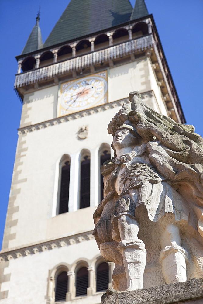 Statue outside Basilica of St. Egidius in Radnicne Square, Bardejov, UNESCO World Heritage Site, Presov Region, Slovakia, Europe