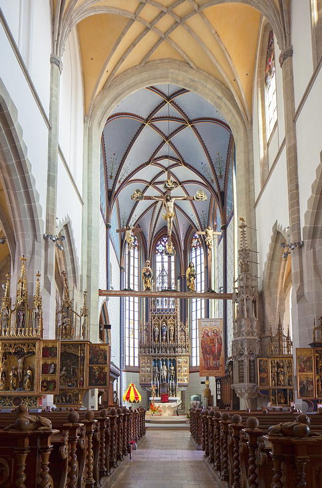 Interior of Basilica of St. Egidius, Bardejov, UNESCO World Heritage Site, Presov Region, Slovakia, Europe
