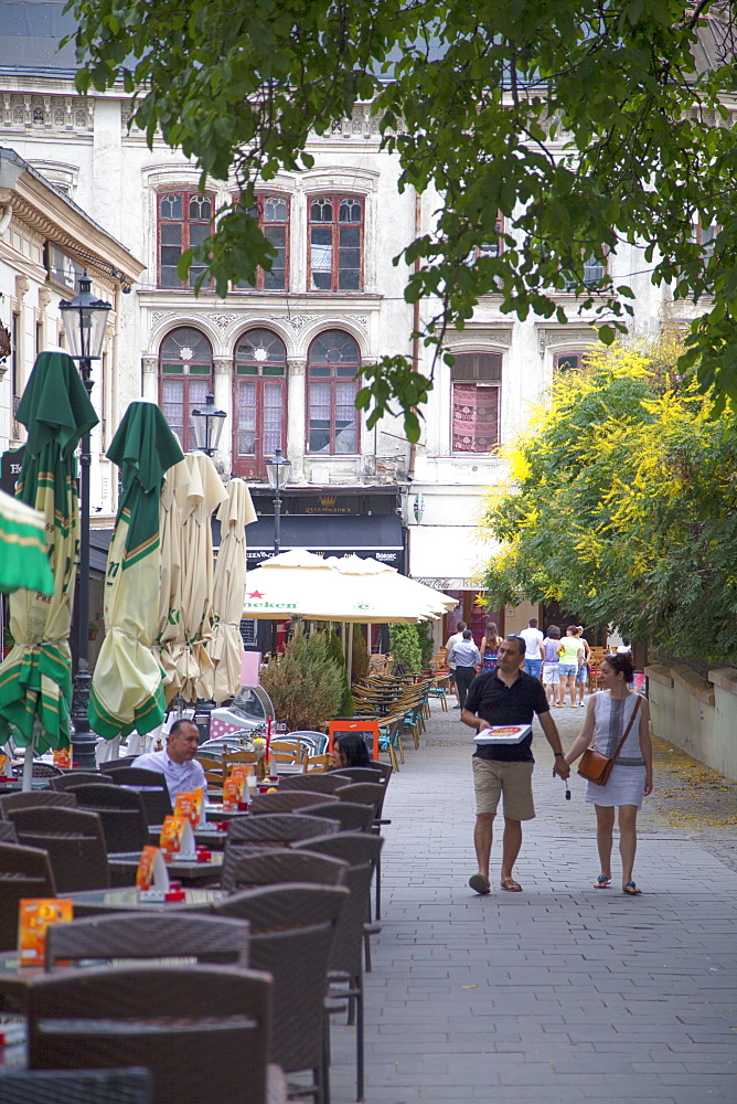 Outdoor cafes in Historic Quarter, Bucharest, Romania, Europe