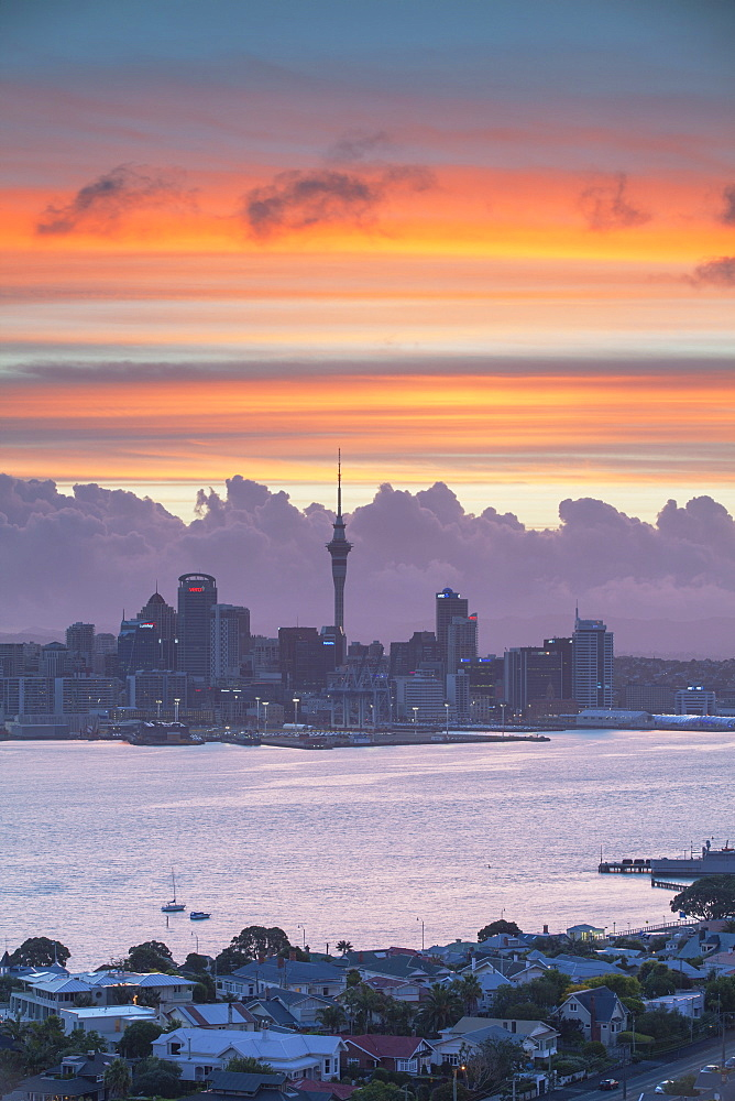 View of Auckland and Devonport at sunset, Auckland, North Island, New Zealand, Pacific