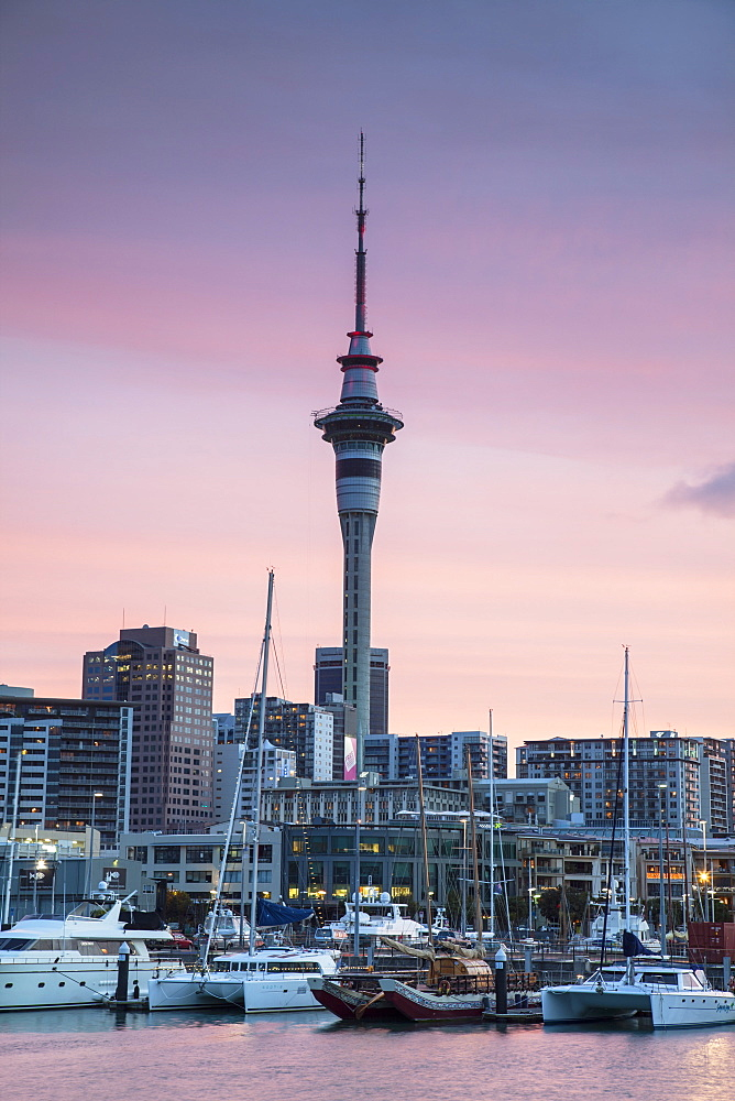 Viaduct Harbour and Sky Tower at sunset, Auckland, North Island, New Zealand, Pacific