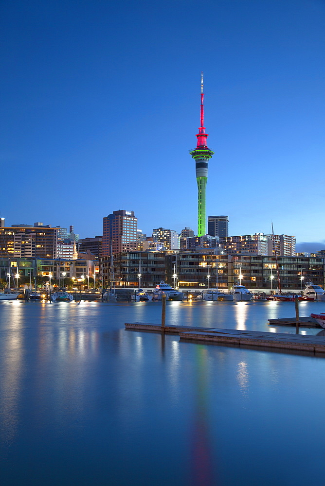 Viaduct Harbour and Sky Tower at dusk, Auckland, North Island, New Zealand, Pacific