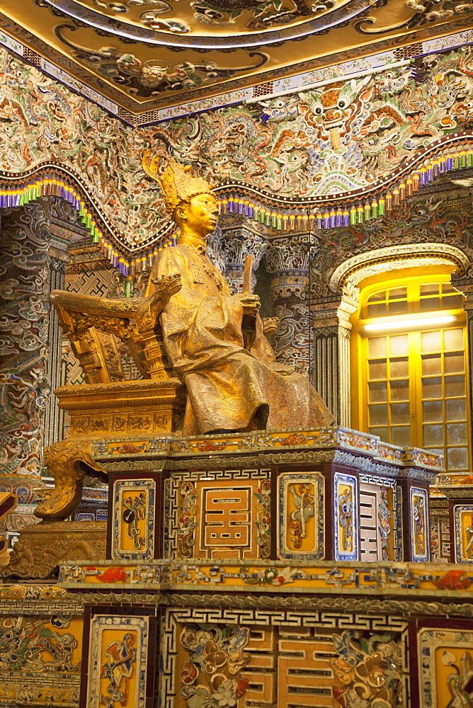 Statue of Khai Dinh at Tomb of Khai Dinh, UNESCO World Heritage Site, Hue, Thua Thien-Hue, Vietnam, Indochina, Southeast Asia, Asia