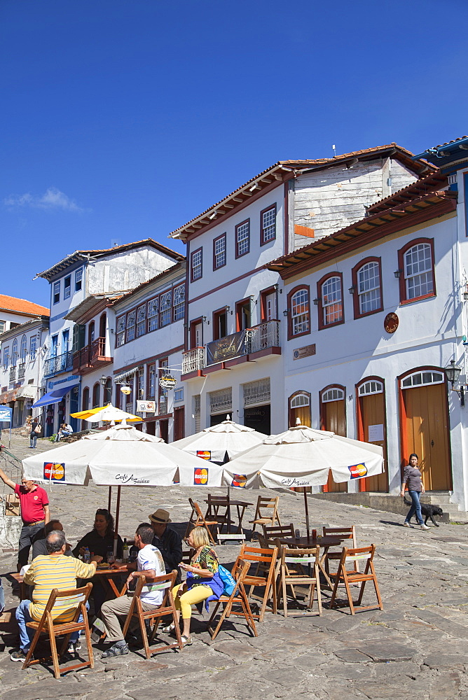 Outdoor cafe in square, Diamantina, UNESCO World Heritage Site, Minas Gerais, Brazil, South America