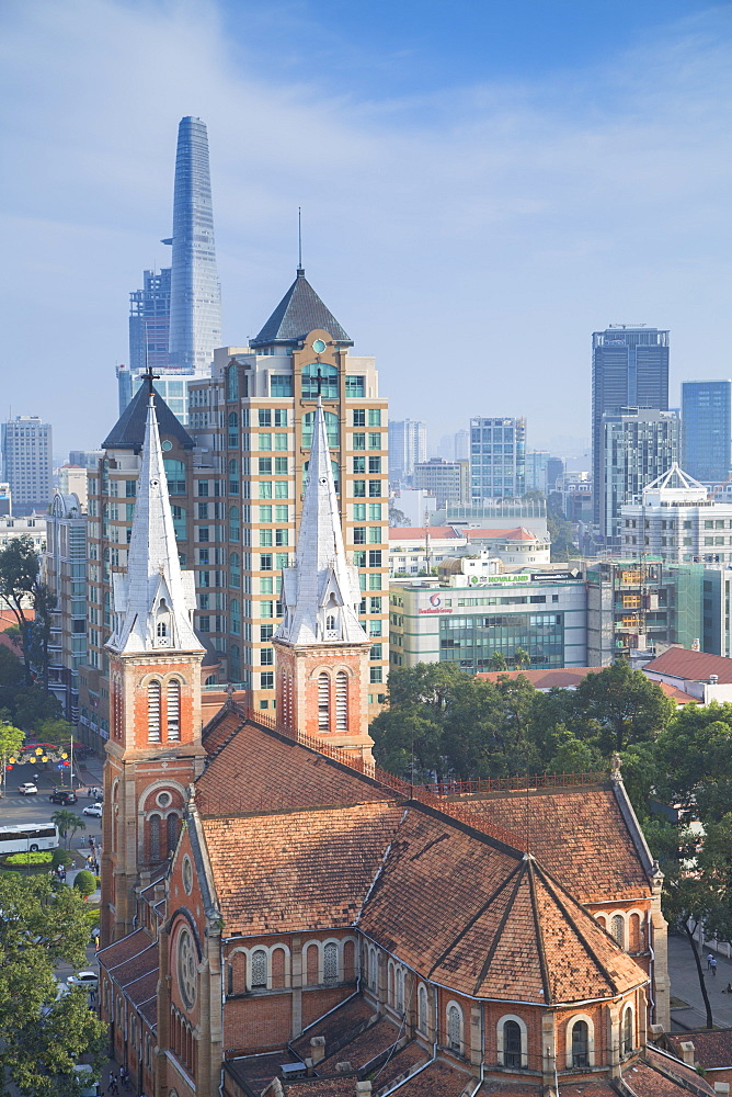 View of Notre Dame Cathedral and city skyline, Ho Chi Minh City, Vietnam, Indochina, Southeast Asia, Asia