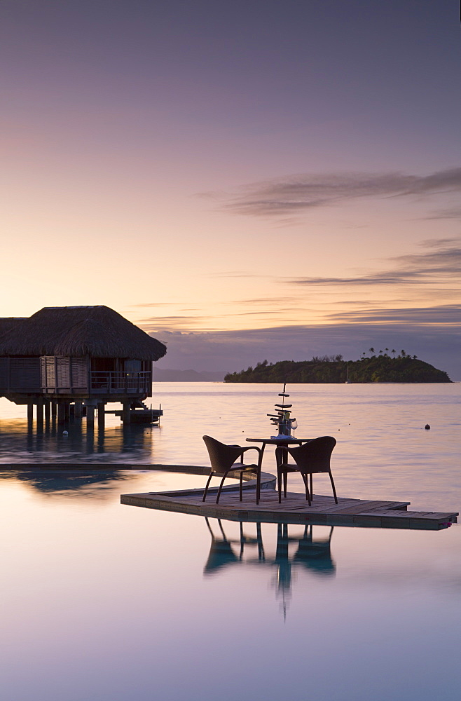 Pool of Sofitel Hotel at dawn, Bora Bora, Society Islands, French Polynesia, South Pacific, Pacific