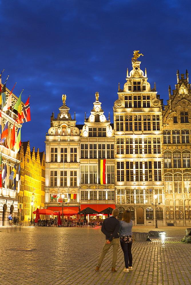 Guild houses in Main Market Square, Antwerp, Flanders, Belgium, Europe