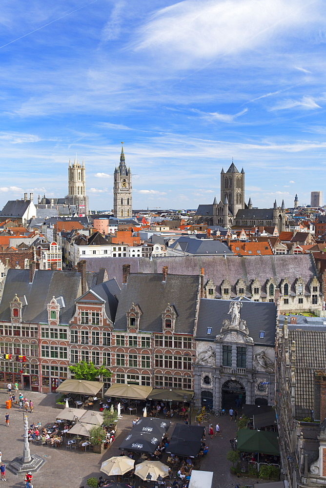 View of Ghent, Flanders, Belgium, Europe