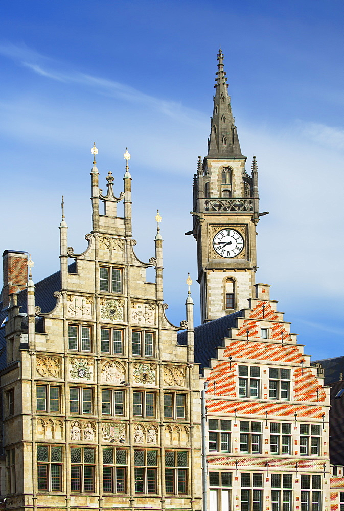 Guild houses and Town Hall in historic centre, Ghent, Flanders, Belgium, Europe